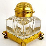 Antique Partner's Inkwell Cut Glass Gilt Mounts Betjemann's Patent Lid