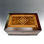Antique Travel Box Fine Exotic Wood Marquetry Mirror Pincushion Writing