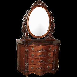 Fine Victorian Bombe Dresser American Rococo Style of Belter Meeks