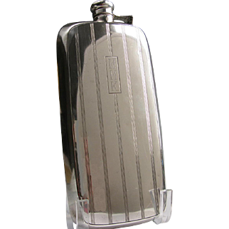 Art Deco Gorham Sterling Hip Flask 1 Pint Big! HHK Monogram