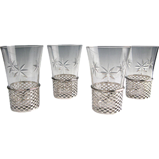 "4 Sterling Silver Openwork 4"" Tumblers w. Cut Glass Inserts Mayo Co. Chicago 1900"