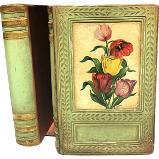"""Pr Vintage Borghese Faux Book Bookends Green & Gold Flower """"Prints"""""""