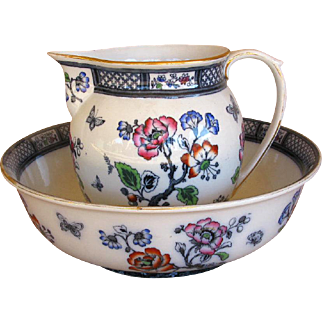 "Antique Wash Bowl & Pitcher w. Butterflies ""Springfield"" Blue Losol Ware, England"