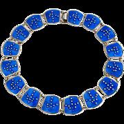 Karl A Rasmussen Sterling Enamel Necklace Bold Blue Mid C. ModernNorway