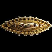 Antique 9KT Gold Bar Pin Secret Locket English Hallmarks Rubies Diamond