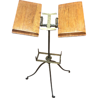 Antique 1880s Dictionary Bible Stand Aermotor Noyes Chicago Oak & Iron