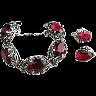 Vintage Signed CINI Sterling Baroque Bracelet & Earrings Faceted RED
