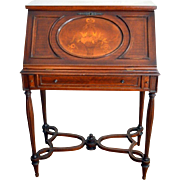 Mahogany Ladies Writing with Floral Marquetry