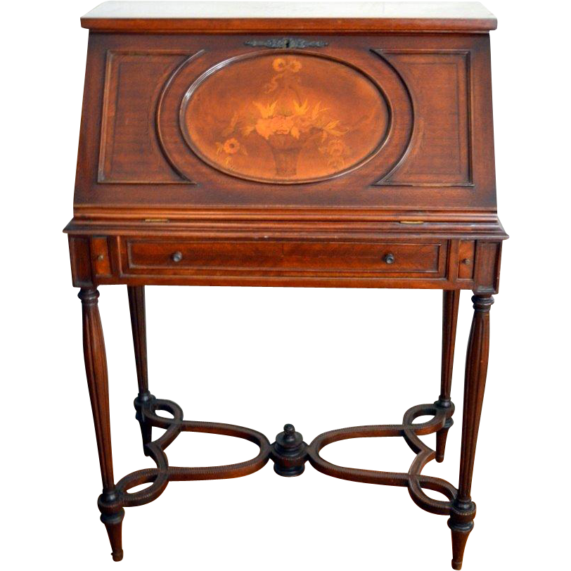 Mahogany Ladies Writing With Floral Marquetry From Front