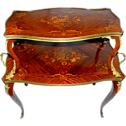19th C. French Marquetry Two Tier tea Table Etagere,