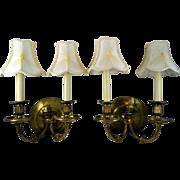 Antique Bronze Pair Gas Light Sconces Double Candlestick
