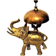 Antique Elephant Hotel Desk Bell Brass Bronze