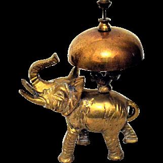 Antique Elephant Hotel Desk Bell Brass Bronze