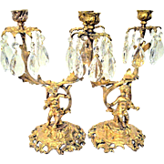 Antique French Gilt Bronze Cherub or Putti Candelabras Candlesticks Pair