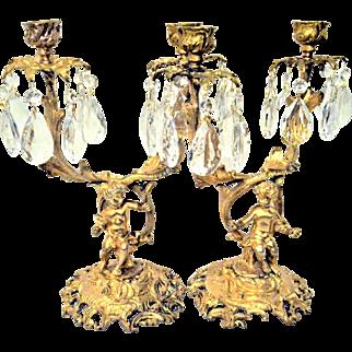 Antique French Gilt Bronze Cherub or Putti Candelabras Candlesticks Pair