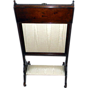 Antique Mahogany Adjustable Fire Screen/Foot Rest with Tray