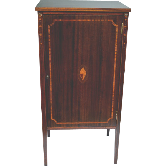 Antique Mahogany Music Cabinet Pearl And Satinwood