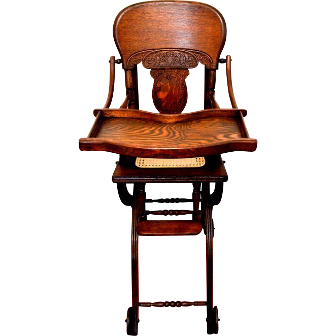 Antique Child's Tiger Oak Pressed Back High Chair-Stroller C1900 - Antique Child's Tiger Oak Pressed Back High Chair-Stroller C1900