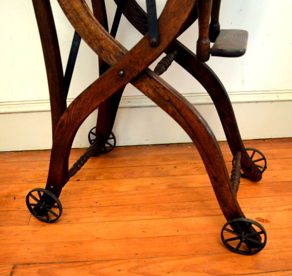 Roll over Large image to magnify, click Large image to zoom - Antique Child's Tiger Oak Pressed Back High Chair-Stroller C1900