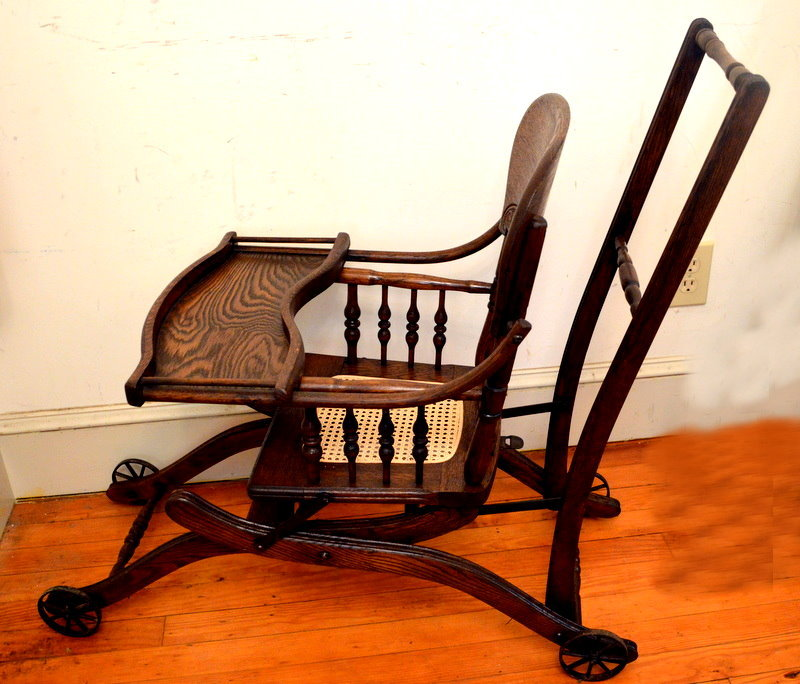 Antique Child S Tiger Oak Pressed Back High Chair Stroller C1900 - Antique High Chair Stroller - Best 2000+ Antique Decor Ideas