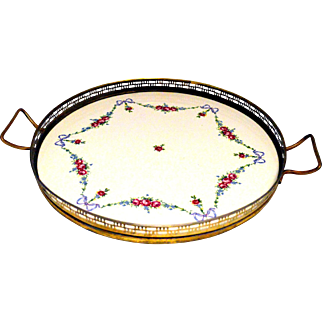 Antique Porcelain Brass Butlers Tray
