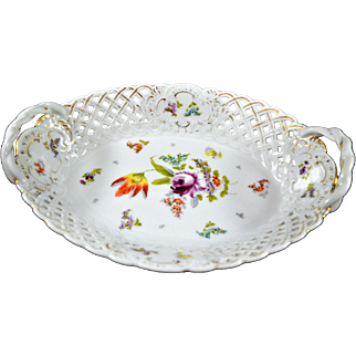 Antique Reticulated Porcelain Oval Bowl Basket Tyndale, Mitchell & Co.
