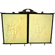 Antique Victorian 1800's Celluloid Cherubs Tri-Fold Vanity Mirror