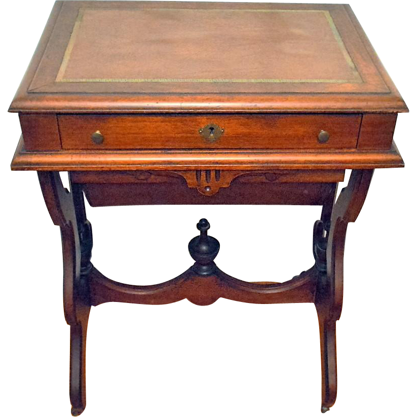 Antique Walnut Victorian Sewing/Work Stand Desk 1875 - Antique Walnut Victorian Sewing/Work Stand Desk 1875 From Front