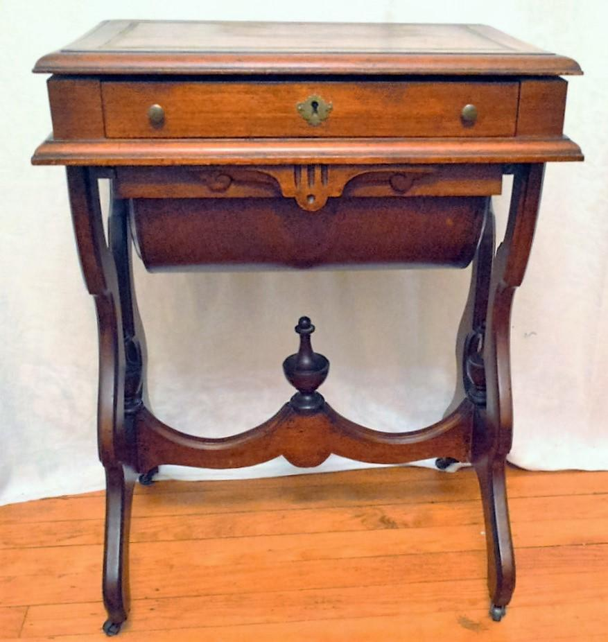 Uncategorized Antique Work Desk antique walnut victorian sewingwork stand desk 1875 from front roll over large image to magnify click zoom