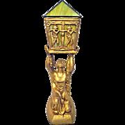 Art Deco Joan of Arc Lamp Green Slag Glass