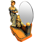 Art Nouveau Figurines with Mirror Back