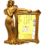 Art Nouveau Gold Gilt Metal Picture Easel Frame