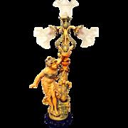 Art Nouveau Spelter lamp L&F Moreau