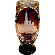 "Bohemian Ruby Glass Cut to Clear Engraved 10 ½"" High"