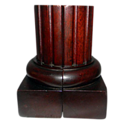 Bookends Solid Mahogany with Fluted Columns