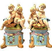 Boudoir Lamps Pair with Cherub/Putti/Angel