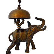Antique Brass Bell Elephant Hotel Desk Service Bell