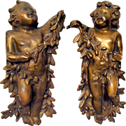 Bronze Dore Antique French Cherubs/Putti's Pair