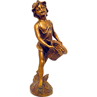 Bronze French Statue Boy style of Auguste Moreau