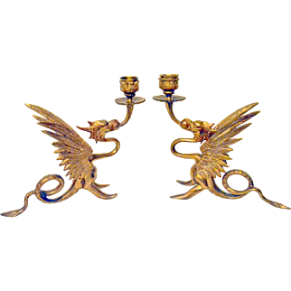Bronze MYTHICAL Griffins Candle Holders