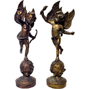 Bronze Pair Cherubs Putti's on Celestial Globe