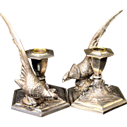 Candle Holders Silver Plate Pheasants Weidlich Bros.