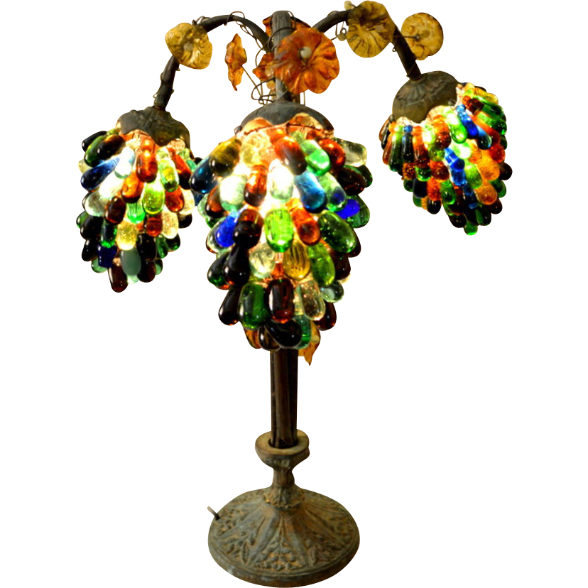 Czech Bronze Glass Grape Lamp Art Nouveau 1920 S Sold On