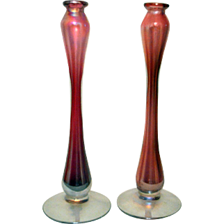 Cranberry Hand Blown Candle Holders
