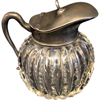 Antique Crystal Syrup Pitcher