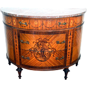 Demi lune French Marble-top Commode Marquetry