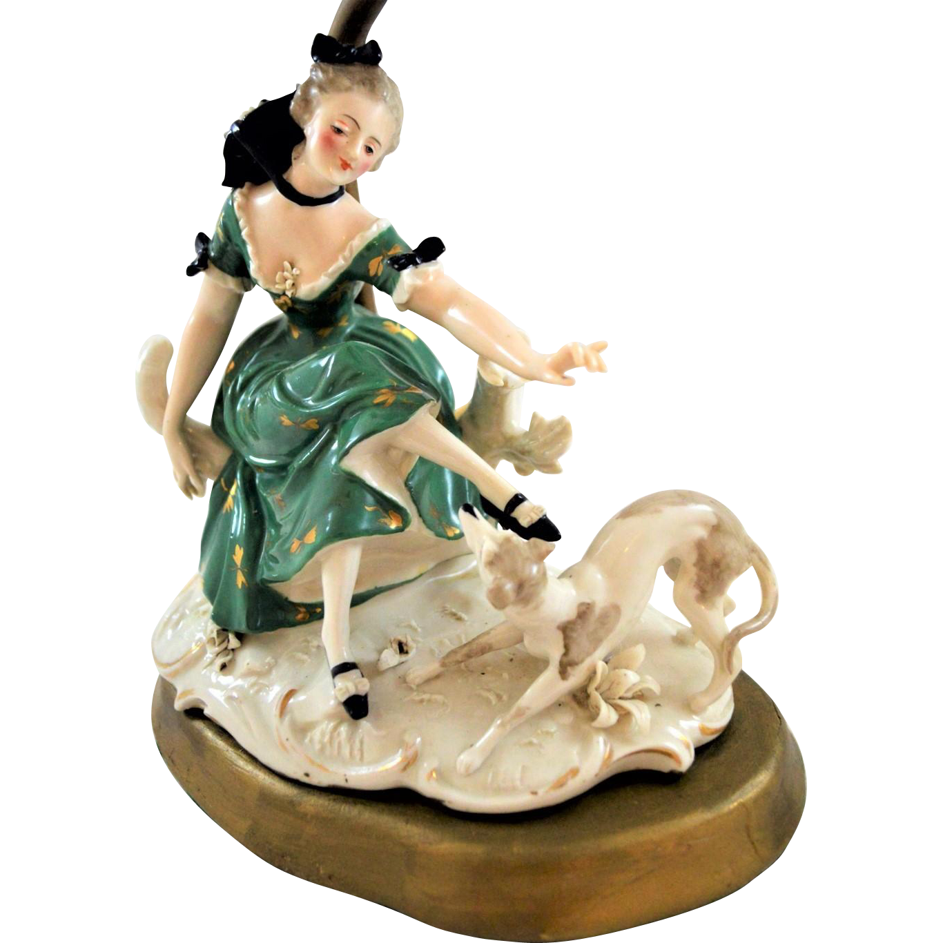 Dresden Figural Lamp Franz Witter Germany Lady with Greyhound.