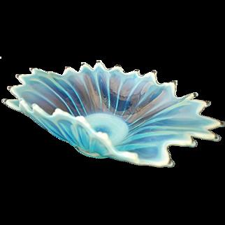 "Fostoria Heirloom Opalescent OBLONG Console Center Bowl - Blue - 14"""