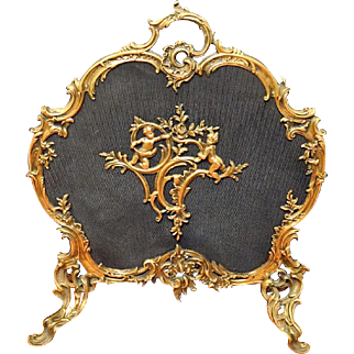 French  ROCOCO Style Brass Figural Putti/Cherub Fire Screen
