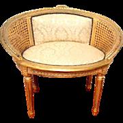 French Louis XVI Cane Back Vanity/Barrel Chair